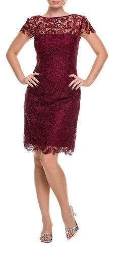 Belle Maids Short Lace Formal Gown 1164BM-BURGUNDY