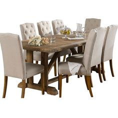 Nebraska 9 piece dining suite dining furniture dining for Outdoor furniture early settler