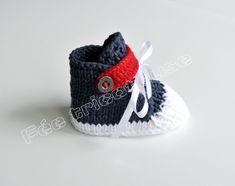Baskets tricotées à la main pour bébé : pour faire comme les grands ! Knit sneakers for babies, like a grown up !