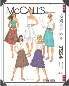 McCALLS Pattern 7554 - Misses Flared Skirts w/Ruffle and Border Print Options - Sz 14 W28 - Vintage 1980s. $5.00, via Etsy.