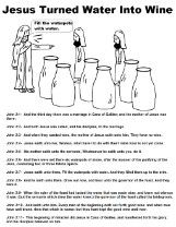 Jesus Turns Water Into Wine Coloring Page | coloring pages | Water