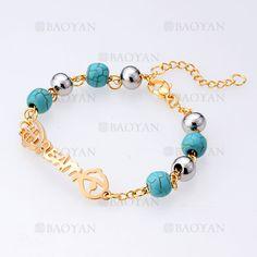 brazalete de bola plateado y turquesa verde con letra dream acero dorado -SSBTG955165