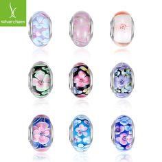Venta caliente de Plata de La Flor de Cristal de Murano Beads Fit Pandora Pulsera Pulseras Charms Original Europea DIY Joyería