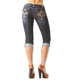 Another great find on #zulily! Dark Wash Cross Capri Jeans by GRACE in LA #zulilyfinds