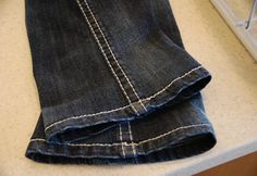 Easiest, most amazing way to hem your jeans while keeping the factory seam! May look odd close up, but when they're on--you can't tell AT ALL! Works best on thick demin (L.A. Idols turned out great); ok on very stretchy jeans (Lee). Be sure to sew RIGHT along the factory seam. You won't be able to see the thread after hemming. This is the best of all hemming tutorials I've seen on Pinterest.
