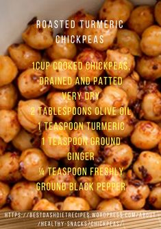 Roasted Turmeric Chickpeas are a wonderful snack Dash Diet Recipes The Effective Pictures We Offer You About mediterani Dash Diet Recipes, Candida Diet Recipes, Snack Recipes, Yummy Recipes, Healthy Recipes For Weight Loss, Healthy Snacks, Mediteranian Diet Recipes, Chickpea Recipes, Vegetarian Recipes