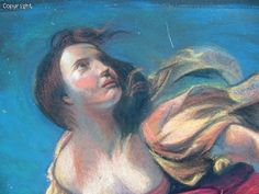 Deianeira - Closeup  8' x 12' Streetpainting  Reproduction after Guido Reni, Italy   Festival - I Madonnari, Santa Barbara, 2005