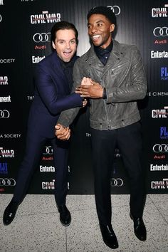 Sebastian Stan and Chadwick Boseman attend the screening Of Marvel's 'Captain America: Civil War' hosted by The Cinema Society with Audi & FIJI at Henry R. Luce Auditorium at Brookfield Place on May 2016 in New York City Marvel Actors, Marvel Movies, Marvel Dc, Bucky Barnes, Sebastian Stan, Johnlock, Destiel, Black Panther Chadwick Boseman, Actor Picture