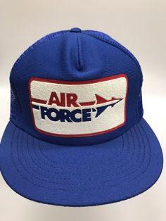 b3c9ff775 Vintage Air Force Trucker Hat Blue Mesh Snapback Baseball Cap Military  Patriotic