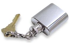 $3.49-$19.99 Stainless Steel 1oz Brushed and Polished Keychain Flask -  http://www.amazon.com/dp/B002LTYUQI/?tag=pin2wine-20