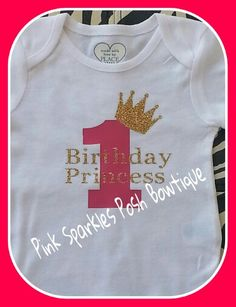 Baby 1st birthday onesie To order please visit Teranika and Co. on Facebook formally known as Pink sparkles posh bowtique