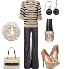 Super classy. Love the tan and black striped shirt with the black and white pearl earrings and necklace.