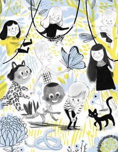 """A sneak peek at the Mile End Kids! A new, original series created by Isabelle Arsenault. People Illustration, Children's Book Illustration, Book Illustrations, Graffiti, Art Gallery, Virginia Wolf, Collages, Losing A Pet, Cool Stuff"