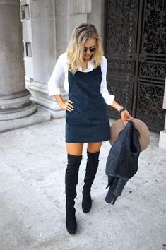 RORESS closet ideas fashion outfit style apparel High Boots and Pinafore Dress Komplette Outfits, Casual Outfits, Fashion Outfits, Woman Outfits, Dress Casual, Fashion Boots, Fall Winter Outfits, Autumn Winter Fashion, Fall Fashion