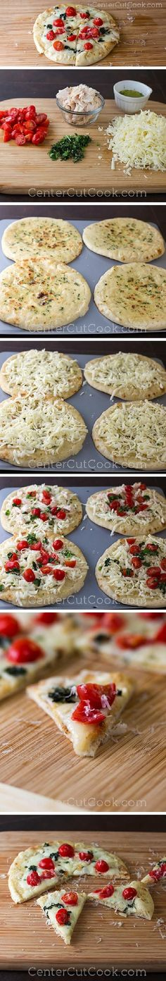 Fresh mozzarella, juicy grape tomatoes, and fresh chopped basil atop flatbread with a buttery GARLIC SPREAD! CAPRESE FLATBREADS with options for vegetarian or chicken! Ready in 15 minutes!