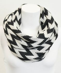Take a look at this Black Zigzag Infinity Scarf by Leto Collection on #zulily today!