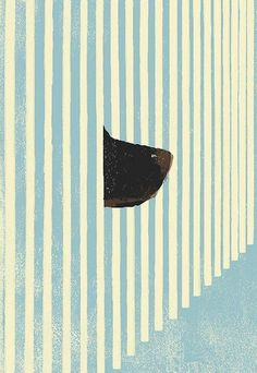 """How could you?"" by Tatsuro Kiuchi: so many elements I adore... a dog's nose, printmaking, stripes... via Petra Hartl's stunning hundkunst blog."