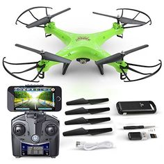 DEERC HS110W FPV Drone with 720P HD Live Video Wifi Camera 24GHz 4CH 6Axis Gyro RC Quadcopter with Altitude Hold Gravity Sensor and Headless Mode Function RTF Includes Bonus Power BankGreen *** Want additional info? Click on the image.