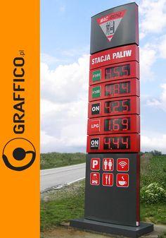 pylon cenowy, pylony cenowe, pylon reklamowy, pylony reklamowe, pylon sign, pylon signage, freestanding sign, pylon for oilstation, petrol station, gas station, price pylon for gas station, gas station branding, rebranding, Graffico, producent reklam dla stacji paliw, signage manufacturer,