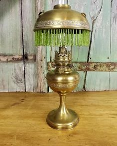Vintage French Brass Oil Lamp Glass Bead Gypsy Lamp