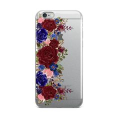 Burgundy and Navy Floral Clear iPhone Case Bohemian Floral