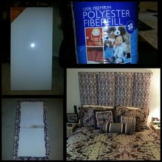 DYI headboard. Made out of canvas, stuffing,  and fabric.