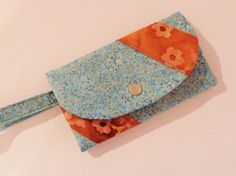 Unique teal and gold woman wristlet wallet by CountingTreasures