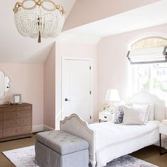 """This room is as sweet as the paint color --  """"Melted Ice Cream"""" by Benjamin Moore. We just posted a few rooms from our #foothilldriveproject on the blog today!!!! Click the link in our profile to shop the pic and check out the blog post! @lindsay_salazar_photography"""
