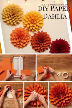DIY Paper Flowers Easy for Kids DIY Paper Dahlia – The Oversized Paper Version of the Beloved Spring Flower Dahlia is one of the favourite spring flowers and you can make your own oversized. Easy Paper Flowers, Paper Flowers Wedding, Paper Flower Tutorial, Giant Paper Flowers, Diy Flowers, Spring Flowers, Flower From Paper, Wood Flowers, Flower Diy