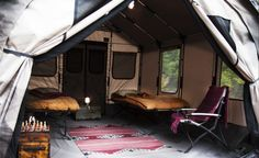 Safari tent by barebones: a rustic mansion - camping gear Best Camping Gear, Camping Glamping, Camping And Hiking, Family Camping, Camping Hacks, Outdoor Camping, Camping Ideas, Backyard Camping, Camping Trailers