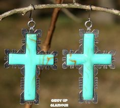 Large Turquoise Cross Earrings in Silver Setting - $34.95