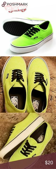 Men's VANS Off The Wall Size 5 Lime Green Canvas I was having trouble getting the lighting to show the correct color of the shoes. The stock photo of the exact shoe. This pic (pic #1) is to show you the proper color of the shoes you will be getting.VANS Off The Wall. Men'sSize 5. B Canvas Sneakers Casual Shoes (ie; lime/florescent green.)  PLEASE do not leave negative feedback before contacting us about the issue first. We work closely/quickly with customers to remedy any issues that may…