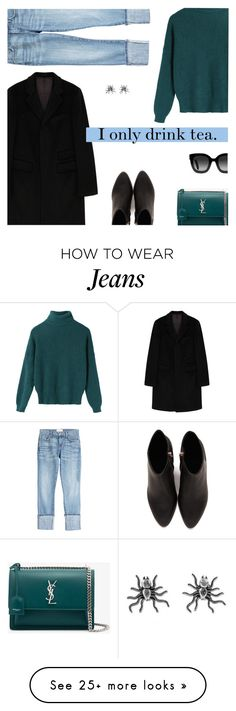 """""""Tea that energizes."""" by tuomoon on Polyvore featuring Paul & Joe, Yves Saint Laurent, Current/Elliott, Gucci, Alexander Wang, NOVICA and CoffeeDate"""