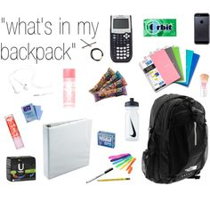 """""""what's in my backpack 2"""" by lovelydayz on Polyvore"""