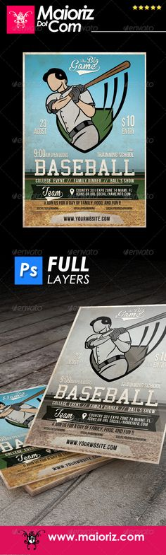Funny Monster Funny, Cartoon and Aliens - baseball flyer