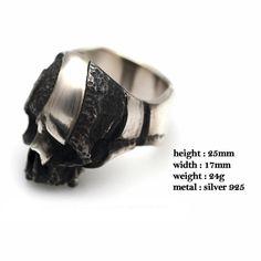925 Sterling Silber Fluch Skull Ring Totenkopf Schmuck Biker