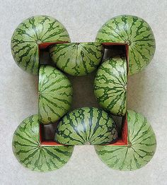 Kudos for this creative series of photographs depicting various geometric graphic creations realized with fruits and vegetables by Turkish artist and Things Organized Neatly, Sweet Station, Watermelon Art, Edible Food, Latte Art, Geometric Art, Geometric Patterns, Creative Food, Food Design