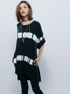 We The Free Canyon Wash Tunic | Oversized and effortless ribbed tunic featuring a tie-dye washed detailing.  Rounded neck with a high low hem and side vents.