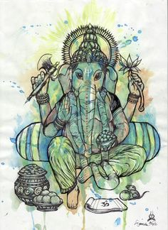 Ganesha is Lord of new beginnings in that he clears paths. Ganesha consciousness binds all fragmentations.he binds people & beings to. Ganesha Drawing, Ganesha Tattoo, Ganesha Painting, Ganesha Art, Lord Ganesha, Peace Sign Tattoos, Gods And Goddesses, Tattoos With Meaning, Indian Art