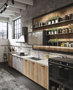 Bring Some Brick & Steel To Your Living Space 10 Creative Industrial Kitchen Decor Ideas For Your Urban Entertainment Spaces industrial and rustic loft kitchen by snaidero 4 Industrial Kitchen Design, Vintage Industrial Decor, Industrial House, Industrial Interiors, Rustic Kitchen, Interior Design Kitchen, Urban Industrial, Industrial Apartment, Vintage Decor