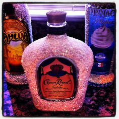 Modpodge Liquor bottles-picture only Bedazzled Liquor Bottles, Old Liquor Bottles, Decorated Liquor Bottles, Liquor Bottle Crafts, Alcohol Bottles, Wine And Liquor, Diy Bottle, Glitter Bottles, Secret Santa