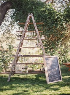 Get expert wedding planning advice and find the best ideas for wedding decorations, wedding flowers, wedding cakes, wedding songs, and more. Antique Ladder, Vintage Ladder, Wedding Reception Decorations, Wedding Props, Wedding Ideas, Wedding Favours, Rustic Luxe, Wedding Songs, Vineyard Wedding