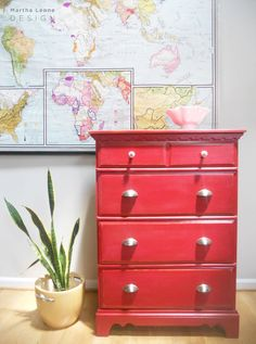 SAMPLE Red Solid Wood Dresser by MarthaLeoneDesign on Etsy, $320.00