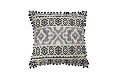 Tribe Grey Square Cushion. Coastal style with a tribal edge, this collection of statement cushions feature fringe and pom pom detailing creating a boho tone. FREE Shipping:For All Deliveries Within Australia