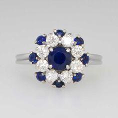 Retro 1.95ct t.w. Gorgeous Designer Velvet Blue Sapphire & Diamond Ring Platinum by YourJewelryFinder on Etsy https://www.etsy.com/listing/224543840/retro-195ct-tw-gorgeous-designer-velvet