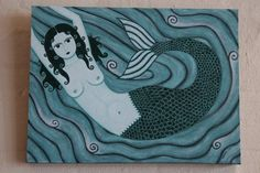 "Original acrylic painting on canvas - ""Melusina"" - mermaid 