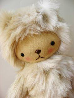 """Kawaii Teddy Bear Plushie in Faux Snow Leopard Fur Large LEXIE."" Shop: bijoukitty (Etsy) by Susan. Price: $39"