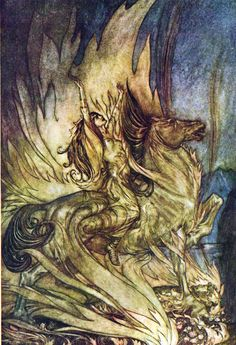 "Brunhilde and her steed Grane mount the funeral pyre with the magic ring to be consumed along with Siegfried's corpse.  ""Siegfried & The Twilight of the Gods"" (1911) illustrated by Arthur Rackham (English, 1867-1939)"