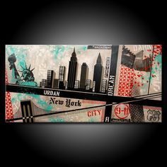 Original New York City Painting Acrylic 48x24 Canvas Modern Red Black & Teal Urban Abstract Fine Art by Federico Farias. $395.00, via Etsy.