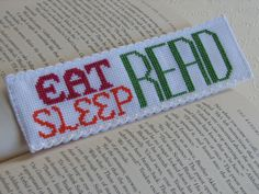 Cross Stitch Bookmark Pattern Eat Sleep by stageappealcrafts, $2.50